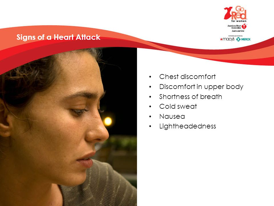 Signs of a Heart Attack Chest discomfort Discomfort in upper body Shortness of breath Cold sweat Nausea Lightheadedness