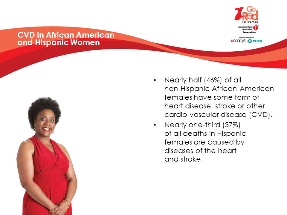 CVD in African American and Hispanic Women Nearly half (46%) of all non-Hispanic African-American females have some form of heart disease, stroke or other cardio-vascular disease (CVD).