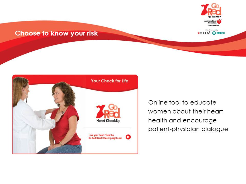 Choose to know your risk Online tool to educate women about their heart health and encourage patient-physician dialogue