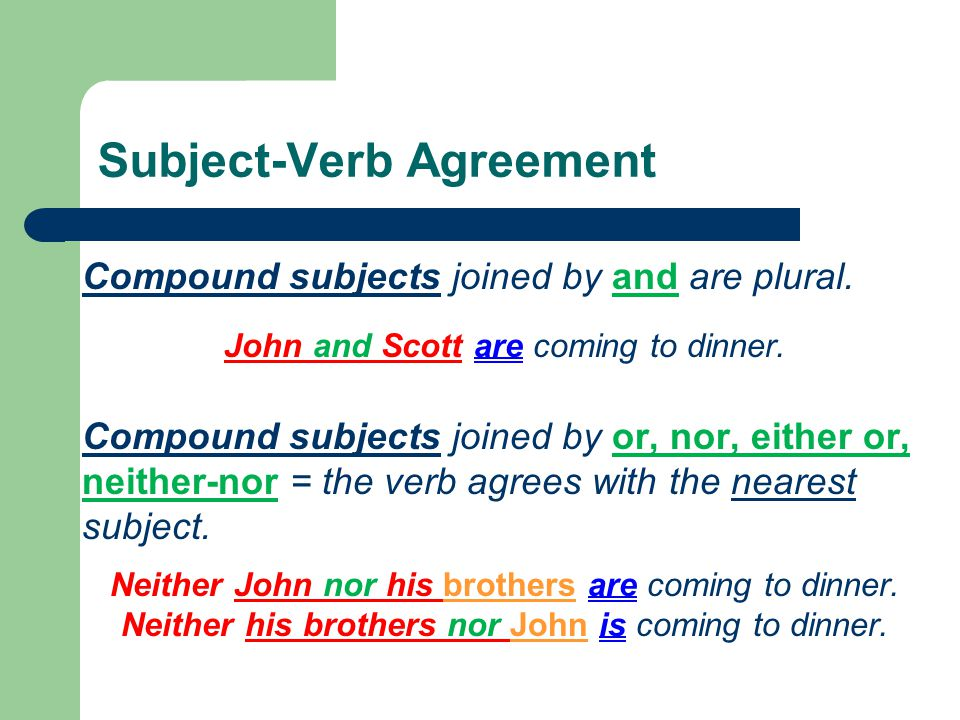 High school mrs fontana english 9 10 agreement ppt download subject verb agreement compound subjects joined by and are plural platinumwayz
