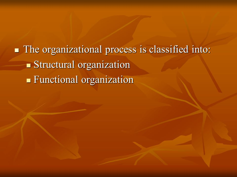 The organizational process is classified into: The organizational process is classified into: Structural organization Structural organization Function