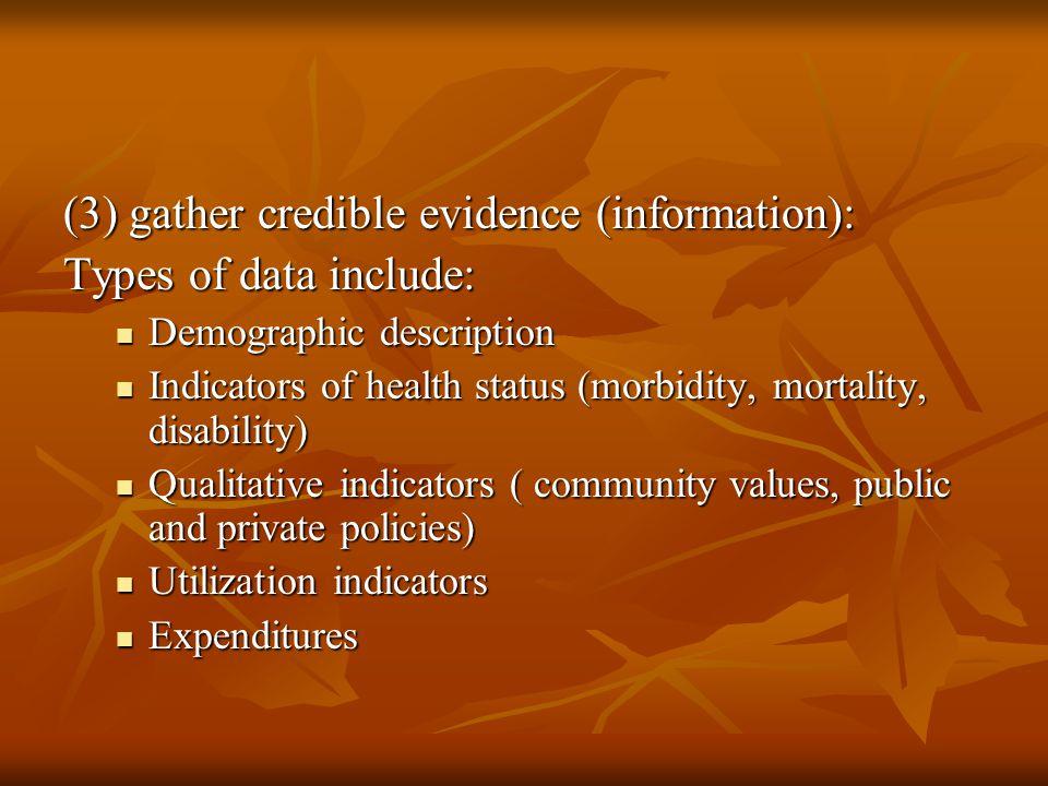 (3) gather credible evidence (information): Types of data include: Demographic description Demographic description Indicators of health status (morbid