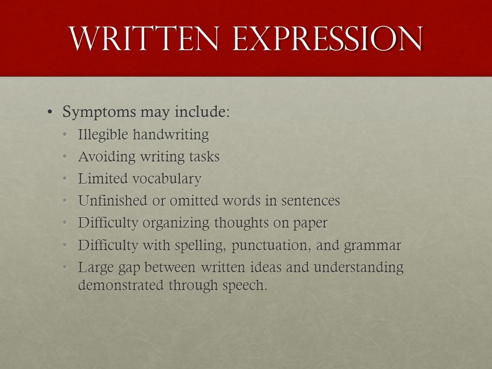 Written expression learning disability
