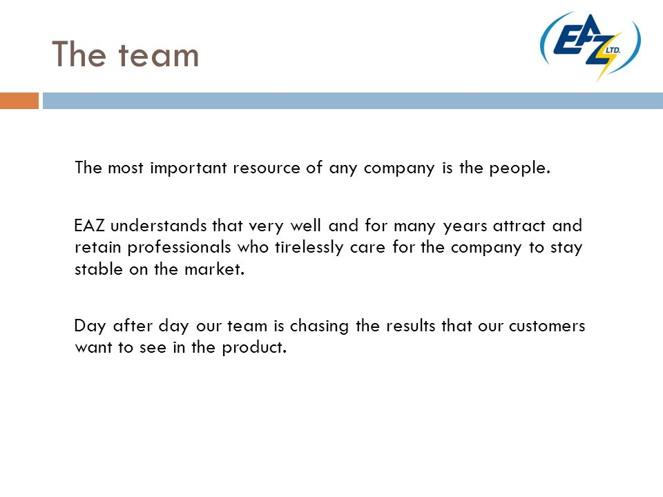 The team The most important resource of any company is the people.