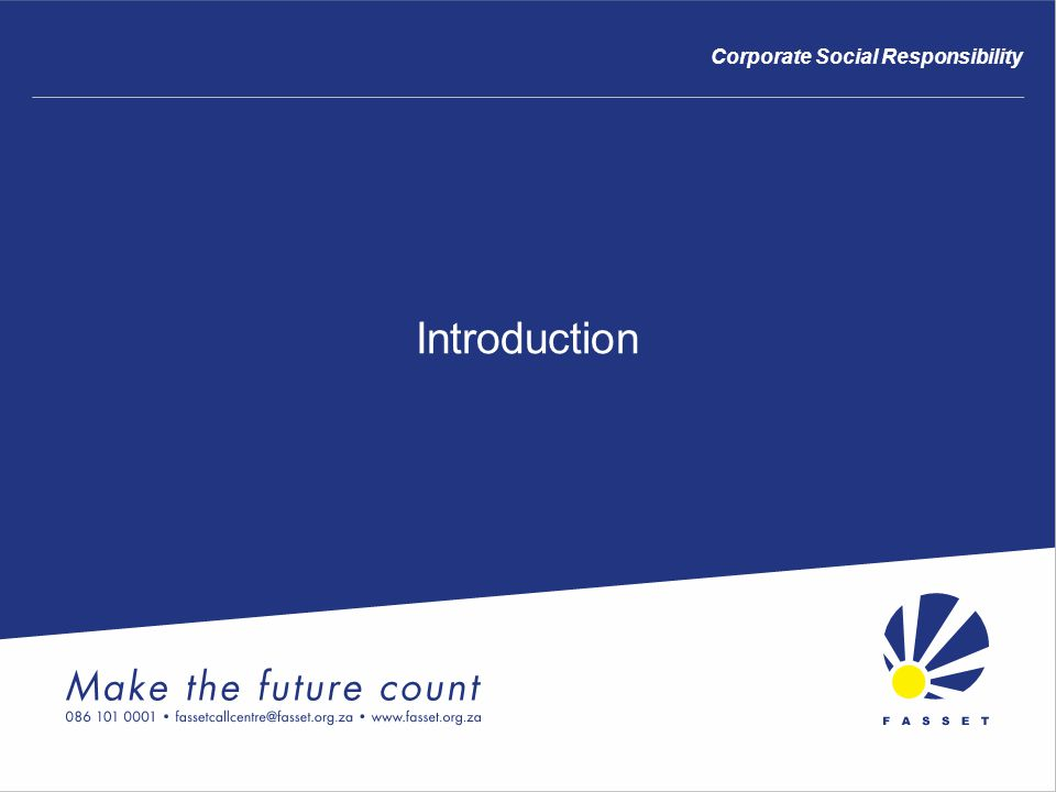 Introduction Corporate Social Responsibility