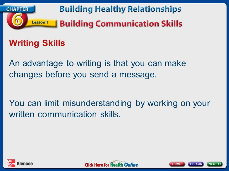 Writing Skills An advantage to writing is that you can make changes before you send a message.