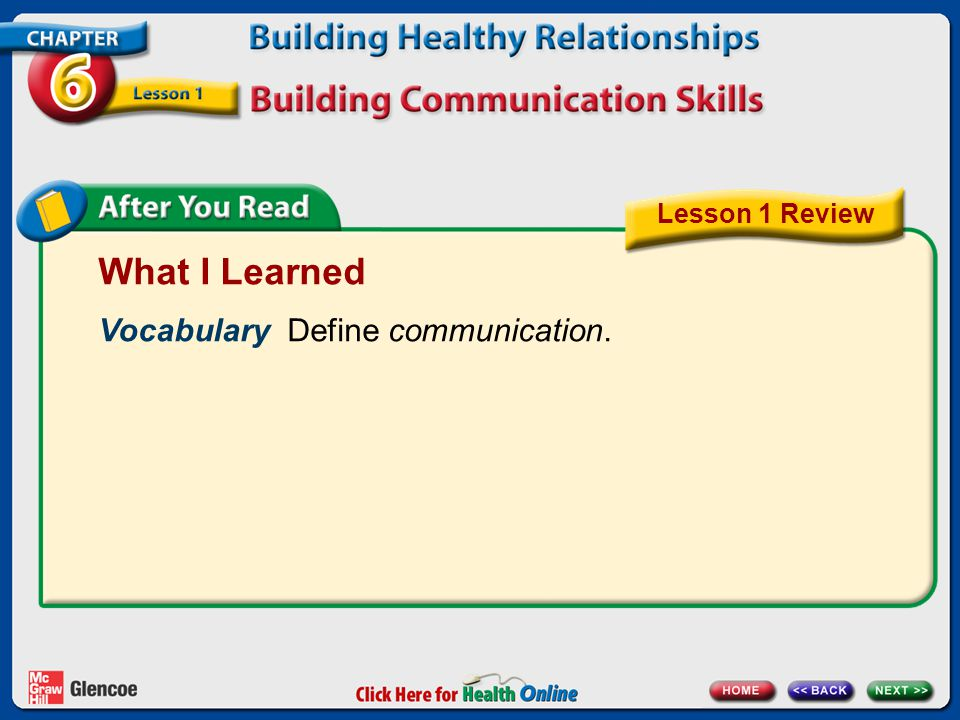 What I Learned Vocabulary Define communication. Lesson 1 Review