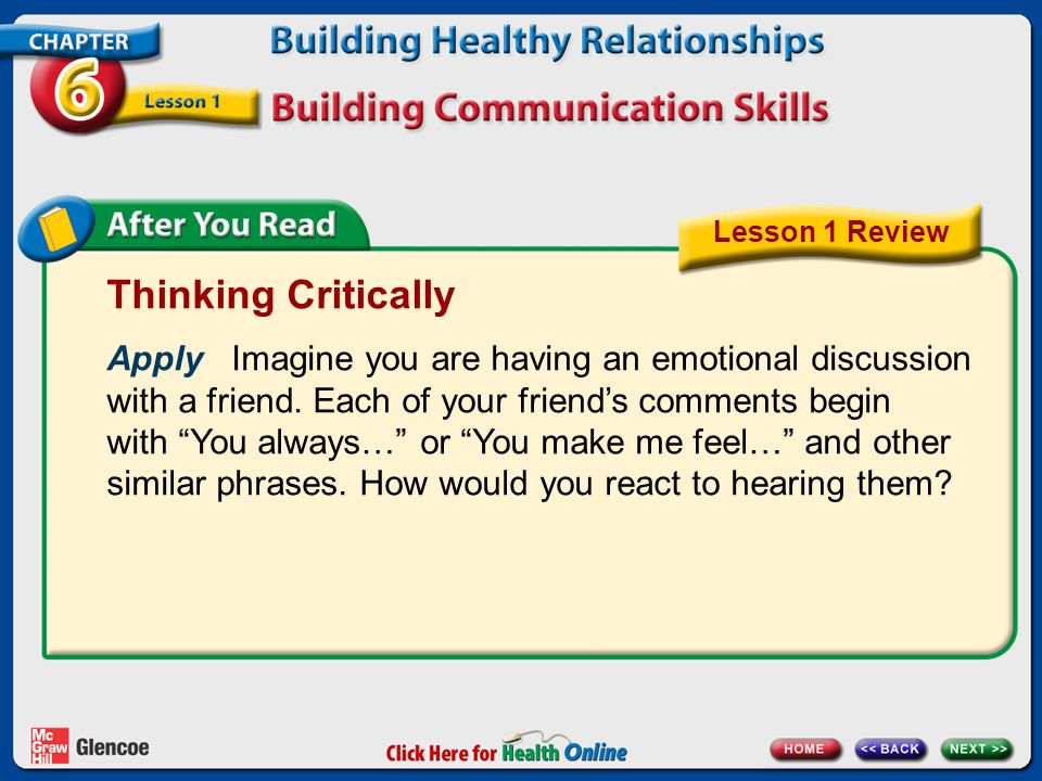 Thinking Critically Apply Imagine you are having an emotional discussion with a friend.