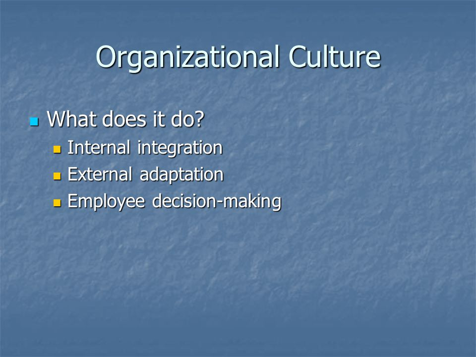 Organizational Culture What does it do. What does it do.