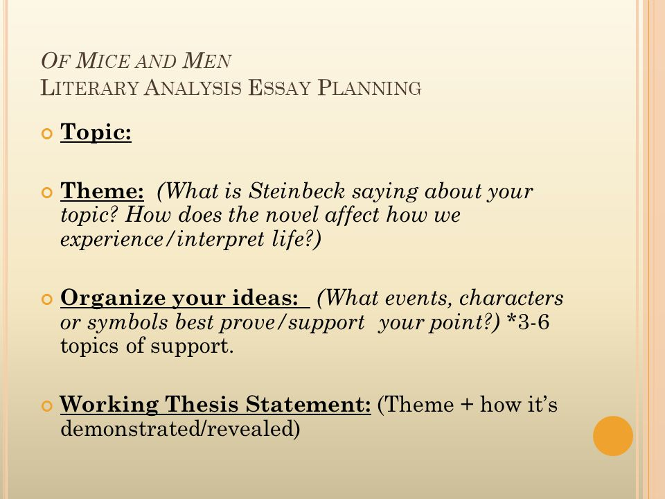 of mice and men essay friendship theme Of mice and men essays is novella written by author john steinbeck to read steinbeck is a great fun that is why i decided to write of mice and men theme essay i start of mice and men friendship essay with a brief summary imagine the american south during the great depression.