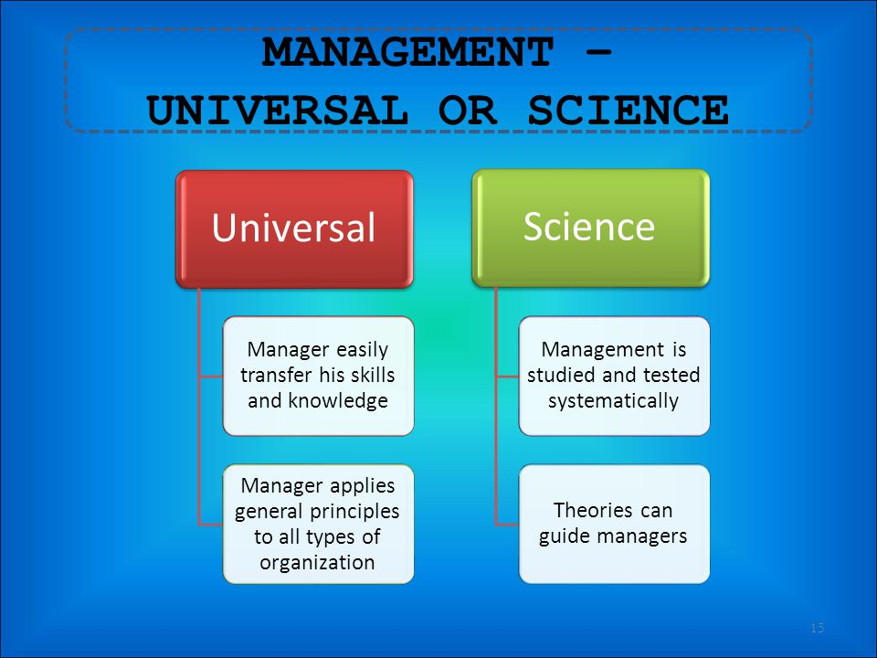 IMPORTANCE OF MANAGEMENT 14 Critical element in the economic growth of the country 1 Essential in all organized effort 2 Dynamic, life giving element