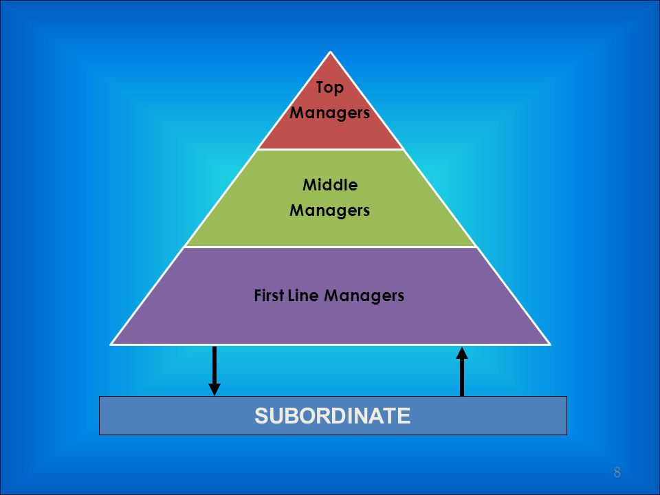 LEVEL OF MANAGERS 7 Top ManagersMiddle ManagersFirst Line Managers