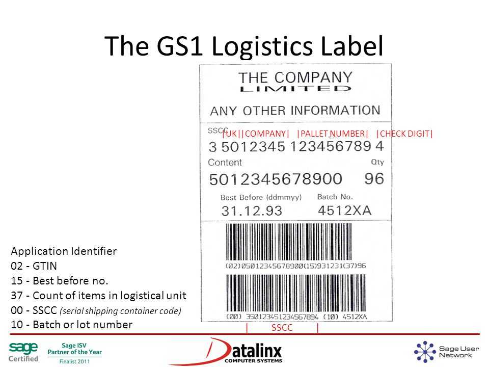 The GS1 Logistics Label |UK||COMPANY||PALLET NUMBER||CHECK DIGIT| | SSCC | Application Identifier 02 - GTIN 15 - Best before no.