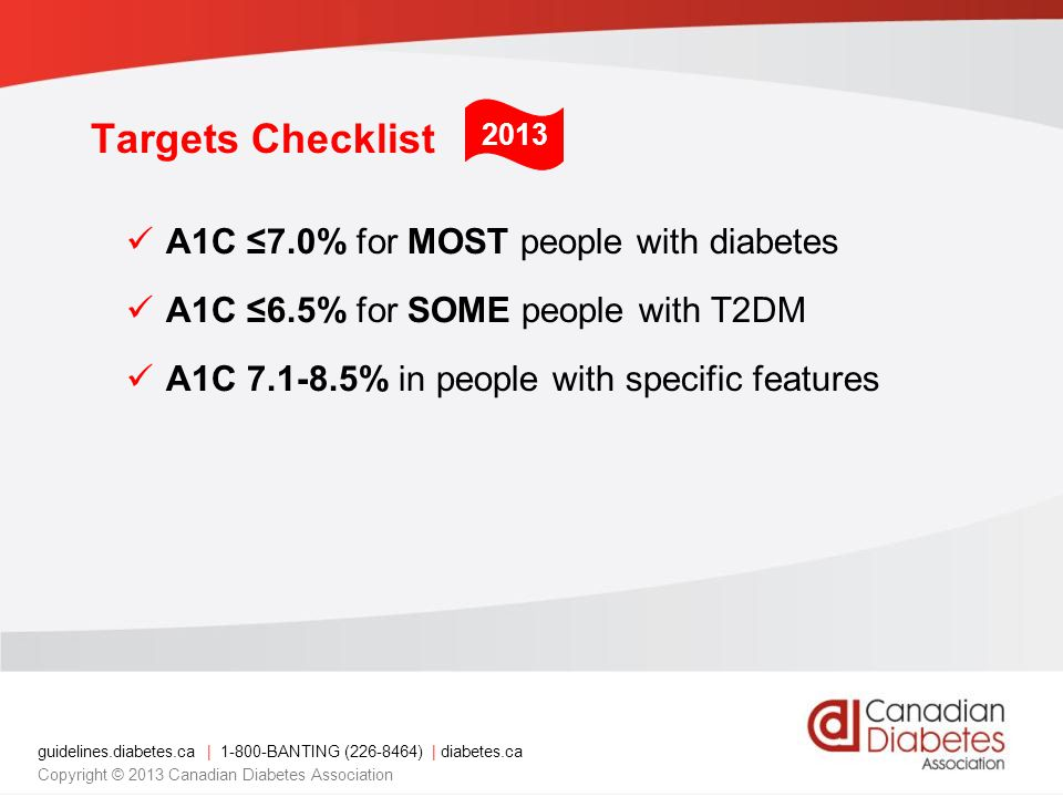 guidelines.diabetes.ca | BANTING ( ) | diabetes.ca Copyright © 2013 Canadian Diabetes Association Targets Checklist A1C ≤7.0% for MOST people with diabetes A1C ≤6.5% for SOME people with T2DM A1C % in people with specific features 2013