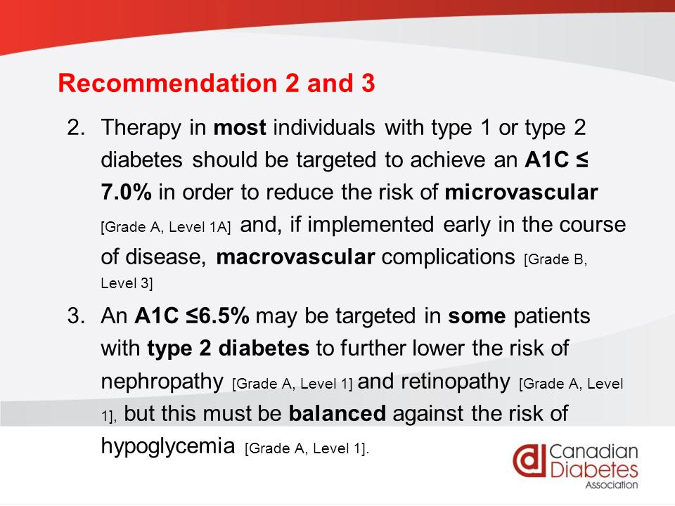 guidelines.diabetes.ca | BANTING ( ) | diabetes.ca Copyright © 2013 Canadian Diabetes Association Recommendation 2 and 3 2.Therapy in most individuals with type 1 or type 2 diabetes should be targeted to achieve an A1C ≤ 7.0% in order to reduce the risk of microvascular [Grade A, Level 1A] and, if implemented early in the course of disease, macrovascular complications [Grade B, Level 3] 3.An A1C ≤6.5% may be targeted in some patients with type 2 diabetes to further lower the risk of nephropathy [Grade A, Level 1] and retinopathy [Grade A, Level 1], but this must be balanced against the risk of hypoglycemia [Grade A, Level 1].