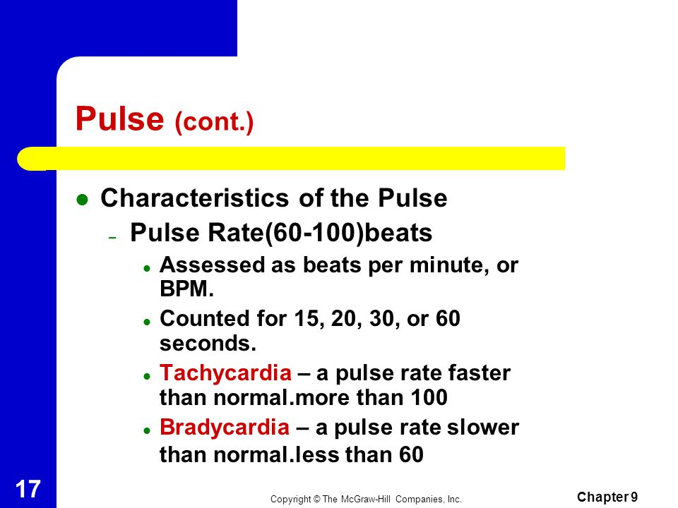 When assessing the pulse the nurse collect the following data: 1.