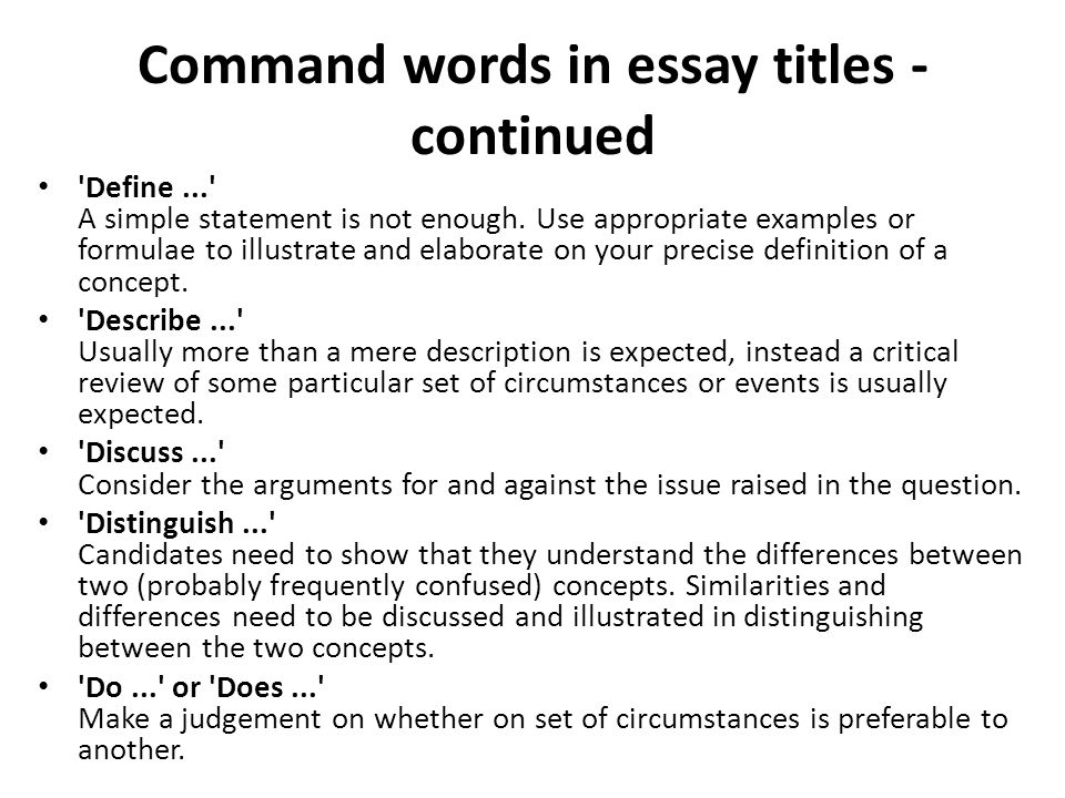 Asa Level Business Studies U2013 Essay Writing Mr Spicer Ppt Download Command  Words In Essay Titles