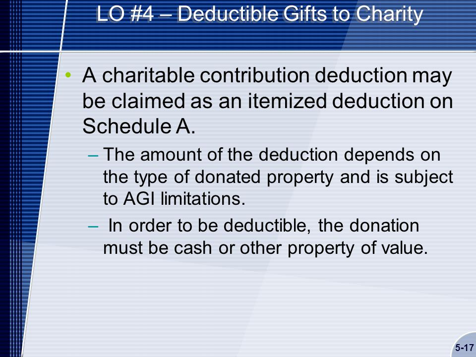 5-17 LO #4 – Deductible Gifts to Charity A charitable contribution deduction may be claimed as an itemized deduction on Schedule A.