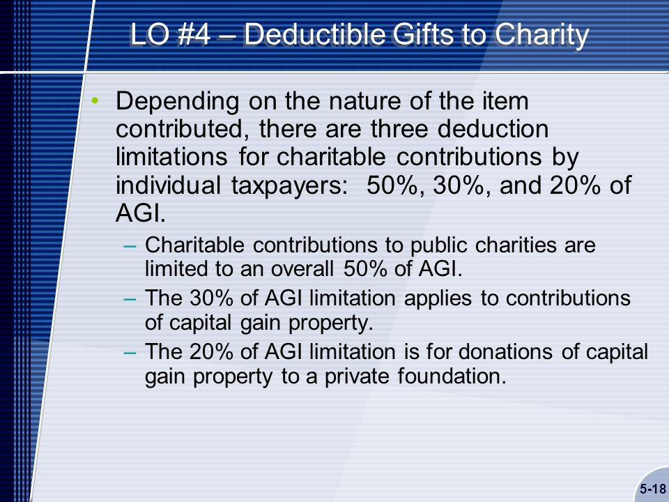 5-18 LO #4 – Deductible Gifts to Charity Depending on the nature of the item contributed, there are three deduction limitations for charitable contributions by individual taxpayers: 50%, 30%, and 20% of AGI.