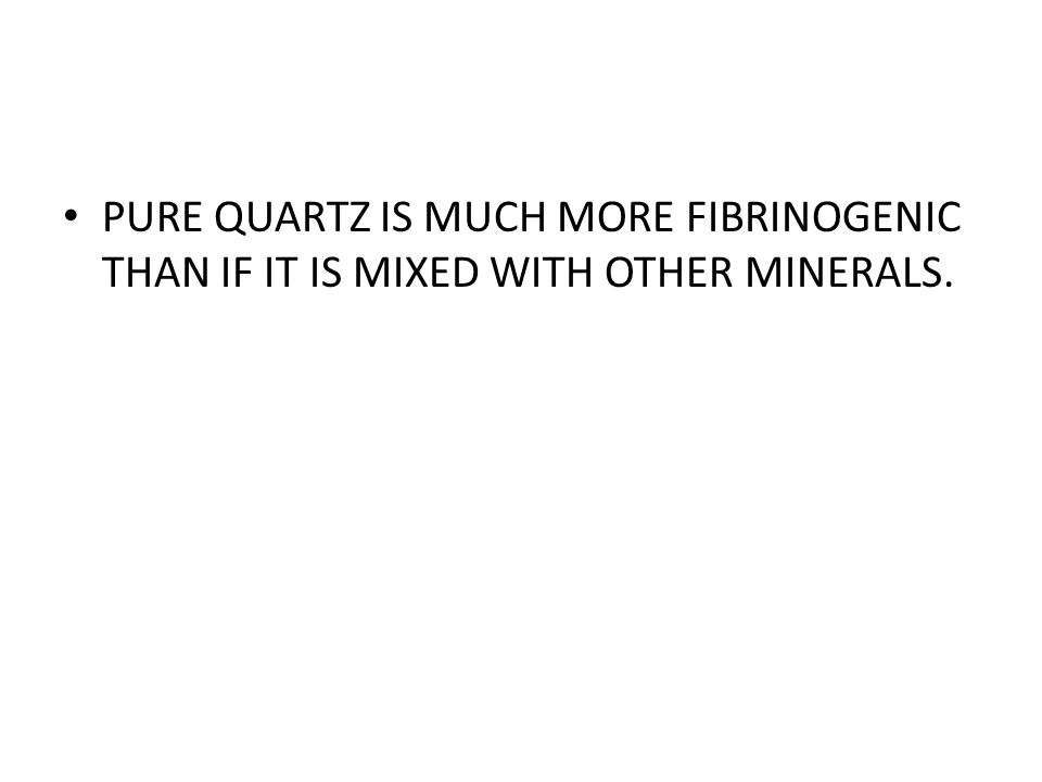 PURE QUARTZ IS MUCH MORE FIBRINOGENIC THAN IF IT IS MIXED WITH OTHER MINERALS.