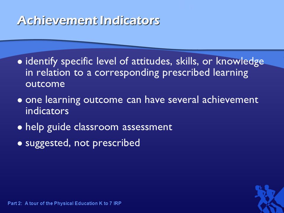 Achievement Indicators identify specific level of attitudes, skills, or knowledge in relation to a corresponding prescribed learning outcome one learning outcome can have several achievement indicators help guide classroom assessment suggested, not prescribed Part 2: A tour of the Physical Education K to 7 IRP