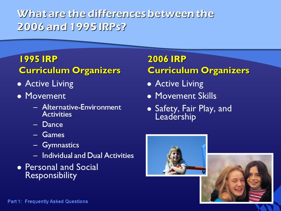 What are the differences between the 2006 and 1995 IRPs.