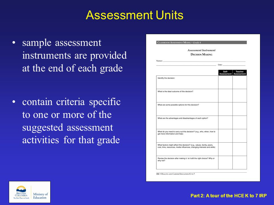 Assessment Units sample assessment instruments are provided at the end of each grade contain criteria specific to one or more of the suggested assessment activities for that grade Part 2: A tour of the HCE K to 7 IRP