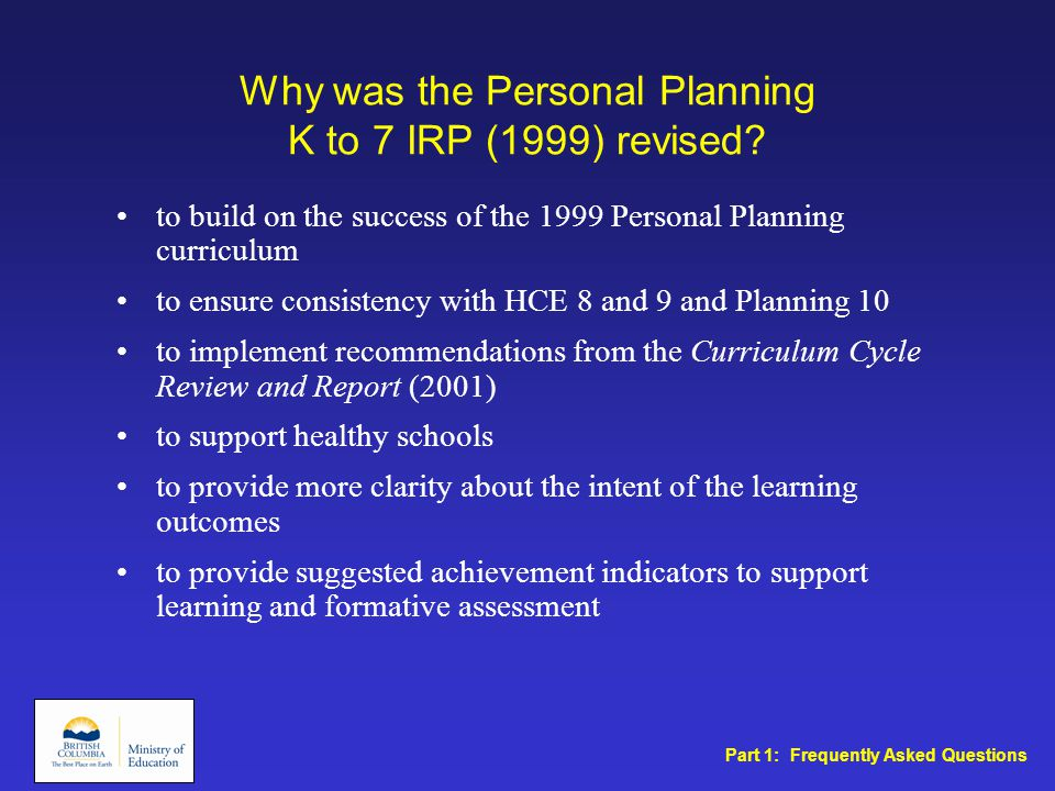 Why was the Personal Planning K to 7 IRP (1999) revised.