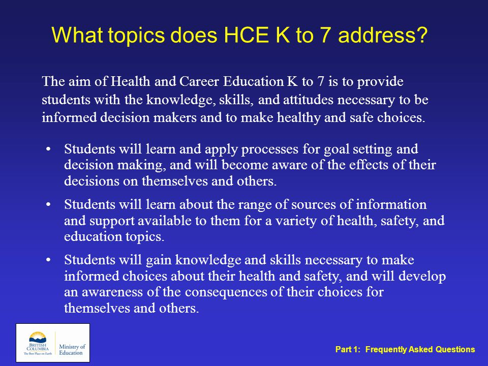 What topics does HCE K to 7 address.