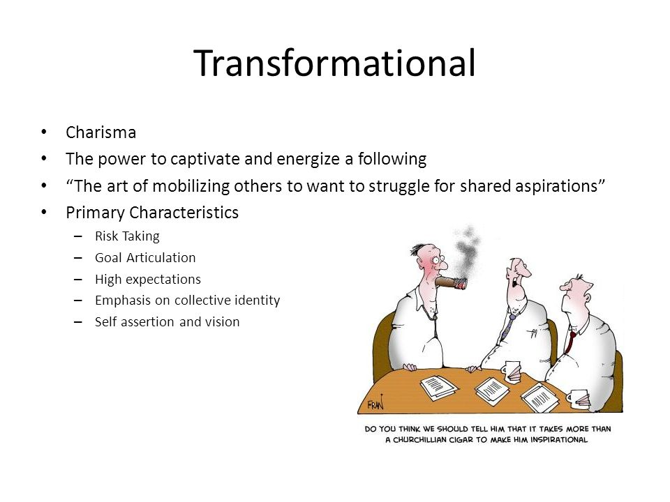 Transformational Charisma The power to captivate and energize a following The art of mobilizing others to want to struggle for shared aspirations Primary Characteristics – Risk Taking – Goal Articulation – High expectations – Emphasis on collective identity – Self assertion and vision