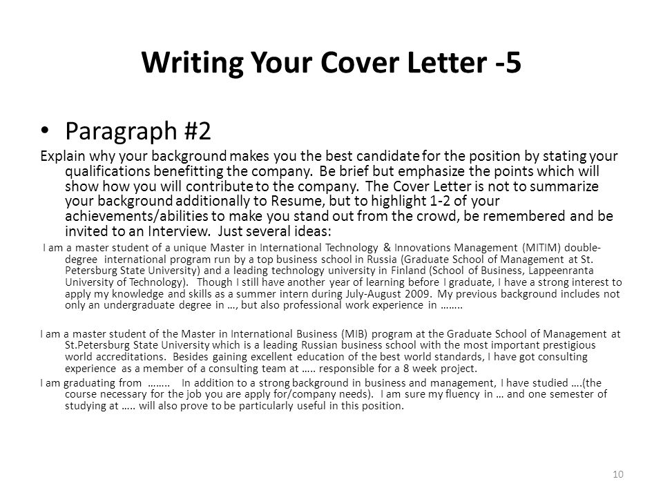 writing your cover letter 5 paragraph 2 explain why your background makes you the