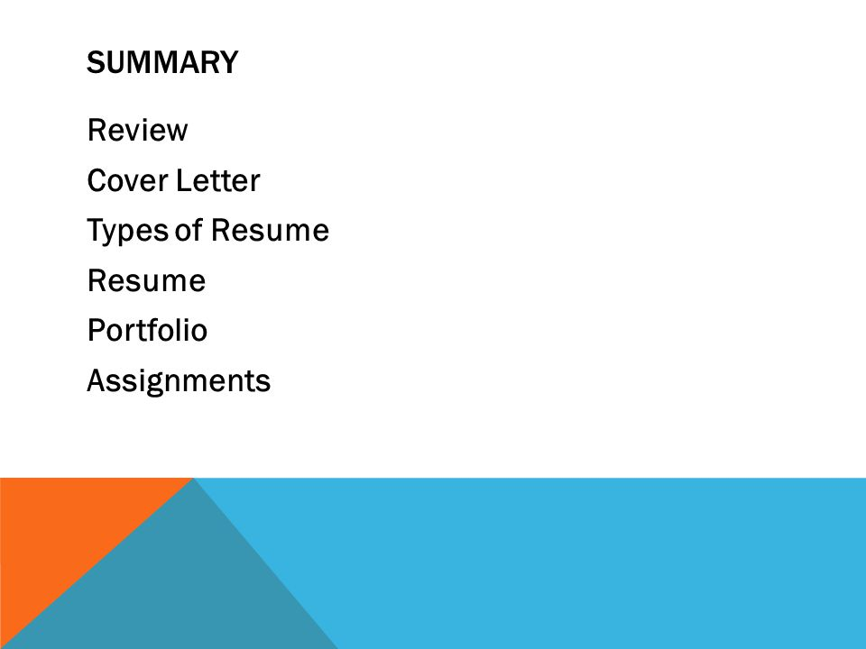 2 review cover letter types of resume resume portfolio assignments summary. Resume Example. Resume CV Cover Letter