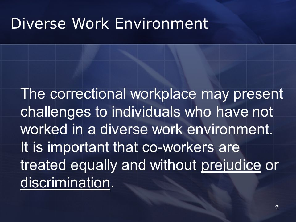 7 The correctional workplace may present challenges to individuals who have not worked in a diverse work environment.