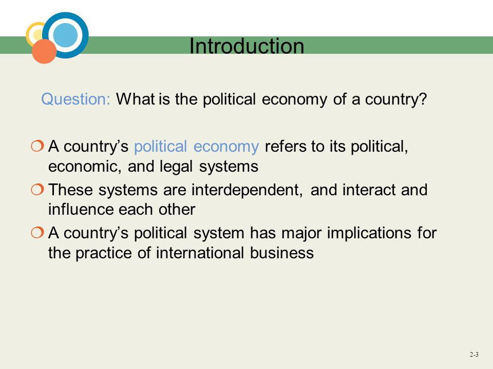 2-3 Introduction Question: What is the political economy of a country.