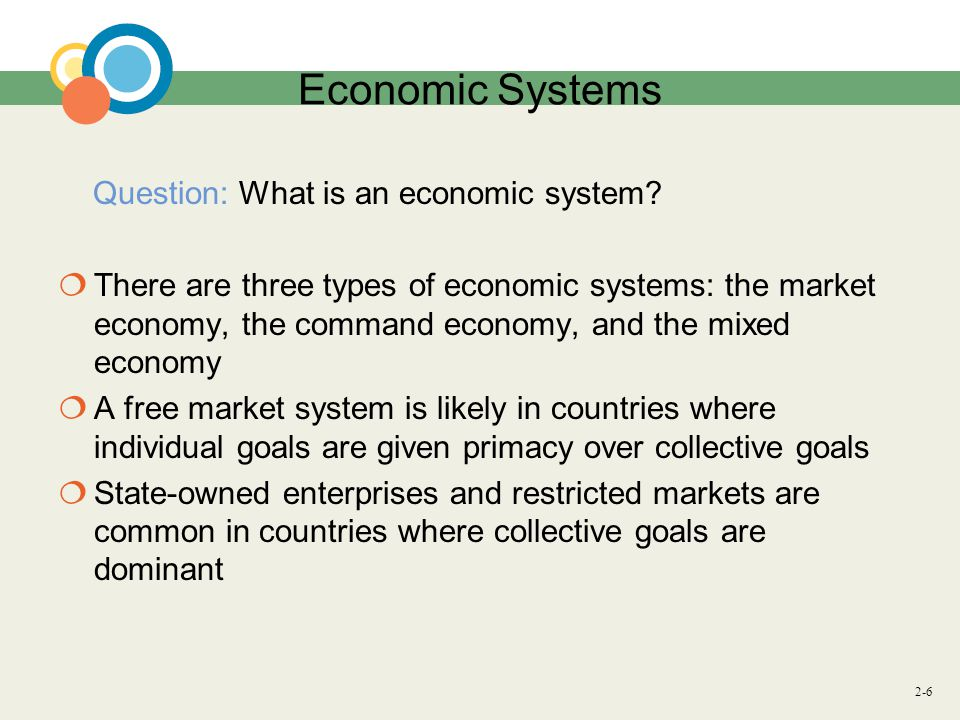2-6 Economic Systems Question: What is an economic system.