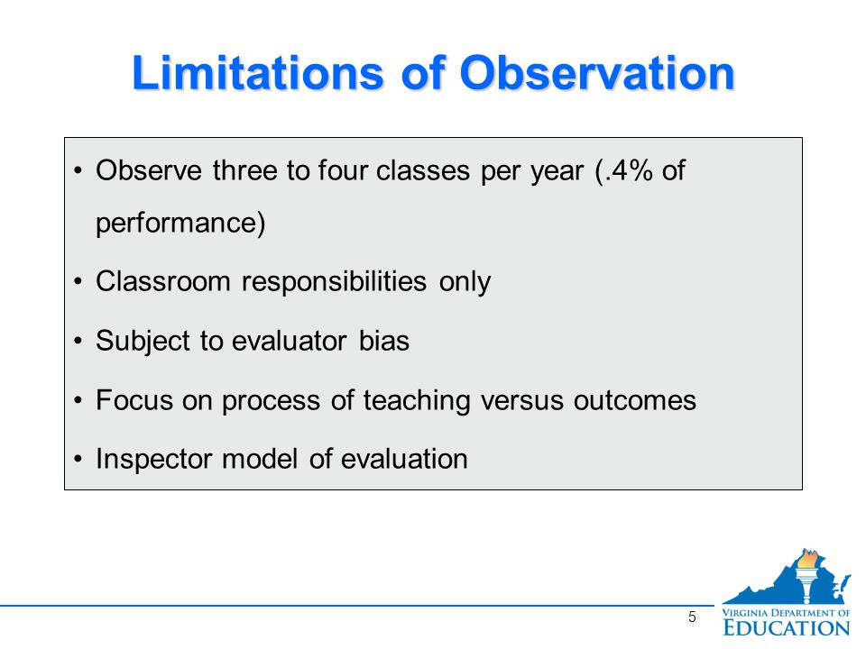 Limitations of Observation Observe three to four classes per year (.4% of performance) Classroom responsibilities only Subject to evaluator bias Focus on process of teaching versus outcomes Inspector model of evaluation 5