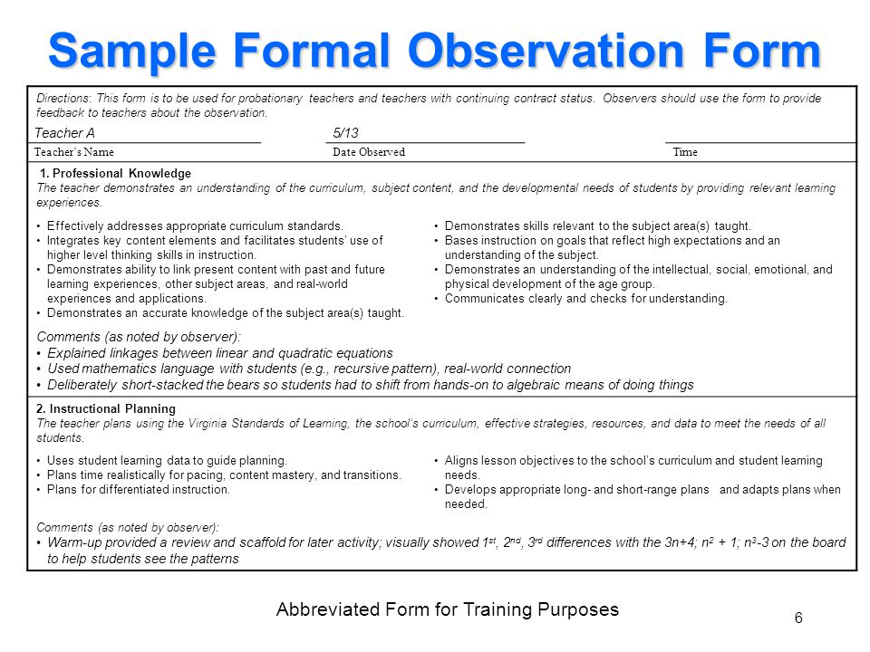Sample Formal Observation Form Directions: This form is to be used for probationary teachers and teachers with continuing contract status.