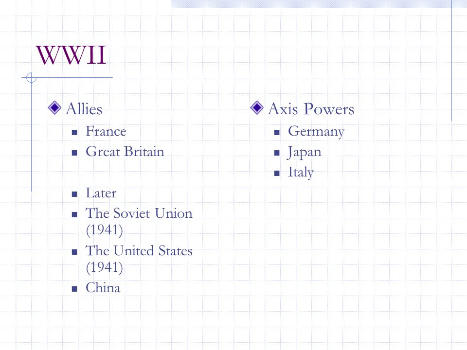 WWII Allies France Great Britain Later The Soviet Union (1941) The United States (1941) China Axis Powers Germany Japan Italy