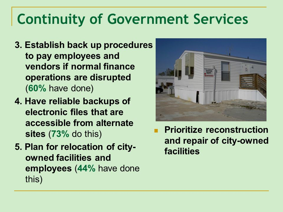 Continuity of Government Services 3.