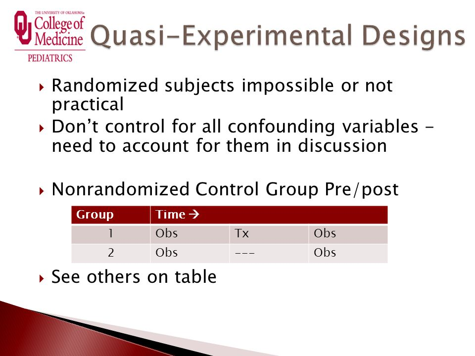  Randomized subjects impossible or not practical  Don't control for all confounding variables - need to account for them in discussion  Nonrandomized Control Group Pre/post  See others on table GroupTime  1ObsTxObs 2 ---Obs