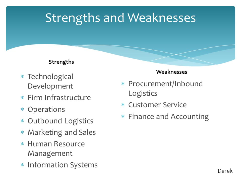 Strengths and Weaknesses  Technological Development  Firm Infrastructure  Operations  Outbound Logistics  Marketing and Sales  Human Resource Management  Information Systems  Procurement/Inbound Logistics  Customer Service  Finance and Accounting Strengths Weaknesses Derek