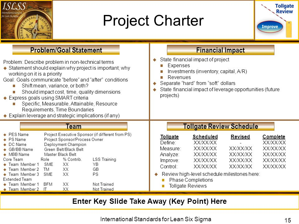 Lean Six Sigma Improve Phase Tollgate Review. Lean Six Sigma DMAIC ...