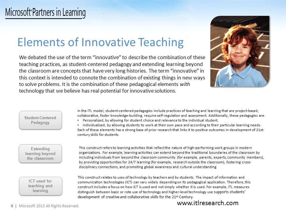 Elements of Innovative Teaching This construct relates to uses of technology by teachers and by students.