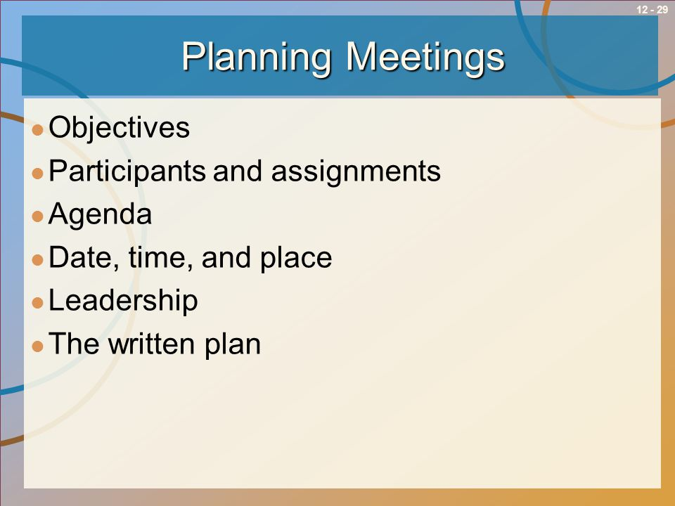 12 - 29Planning Meetings Objectives Participants and assignments Agenda Date, time, and place Leadership The written plan