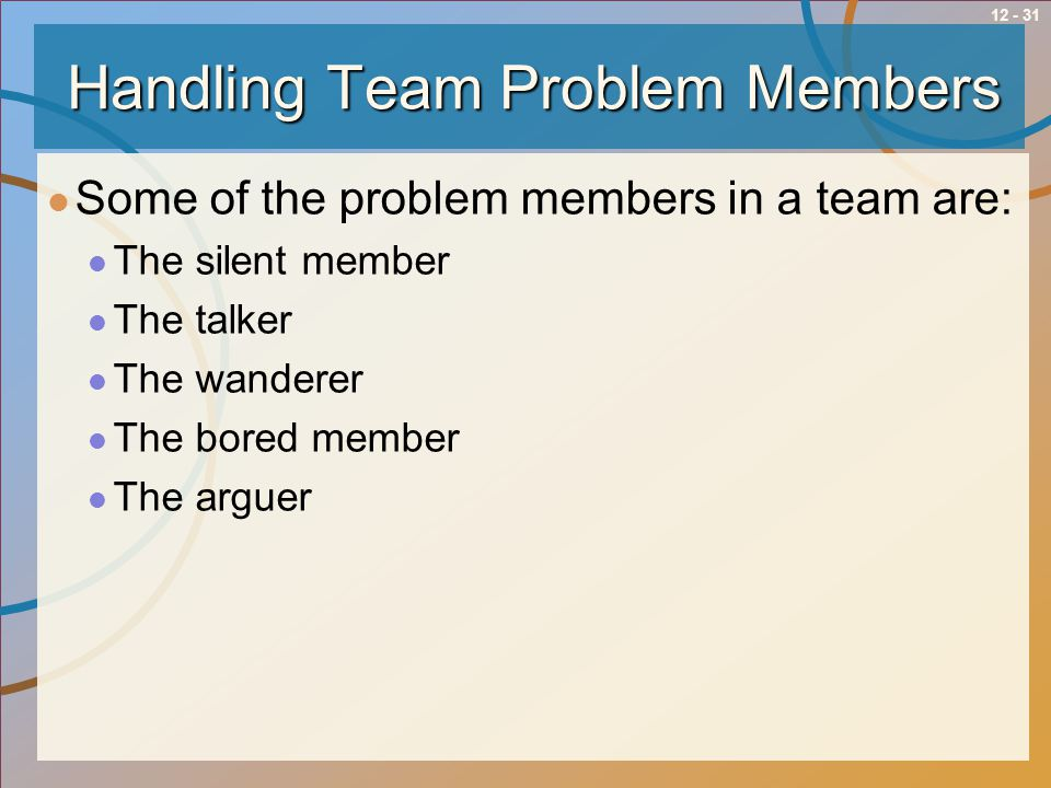 12 - 31Handling Team Problem Members Some of the problem members in a team are: The silent member The talker The wanderer The bored member The arguer