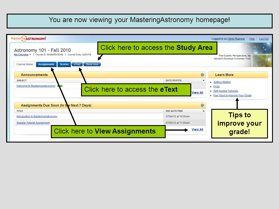 You are now viewing your MasteringAstronomy homepage.