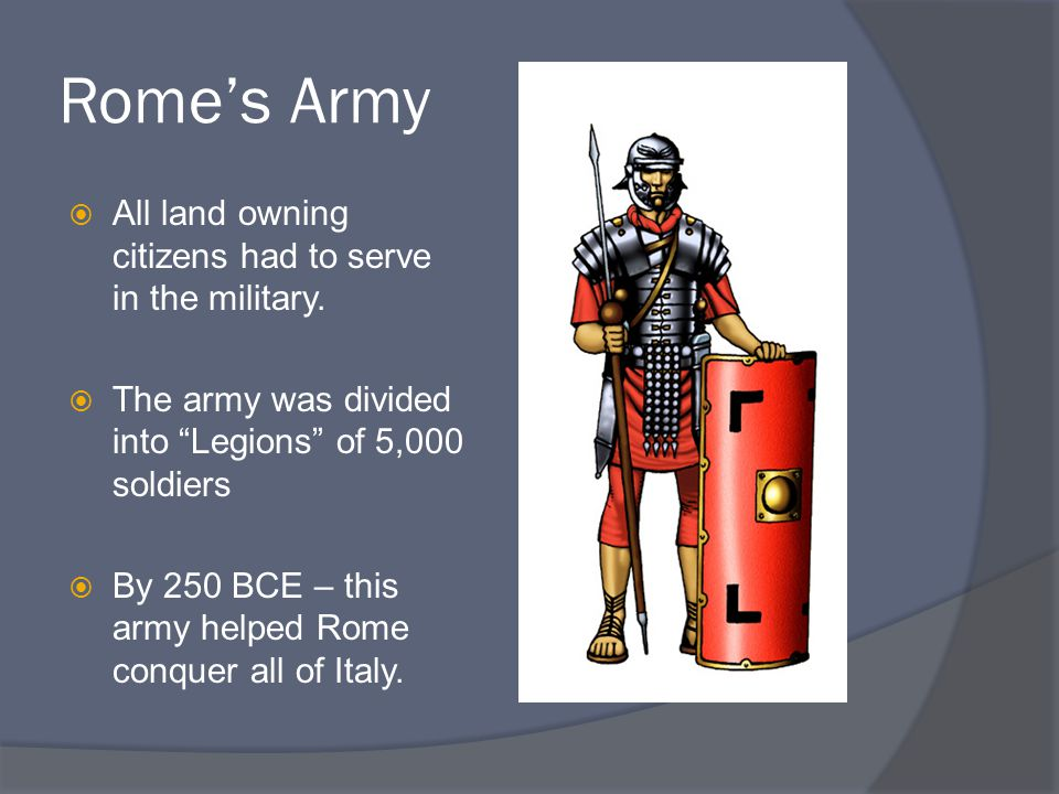 Rome's Army  All land owning citizens had to serve in the military.