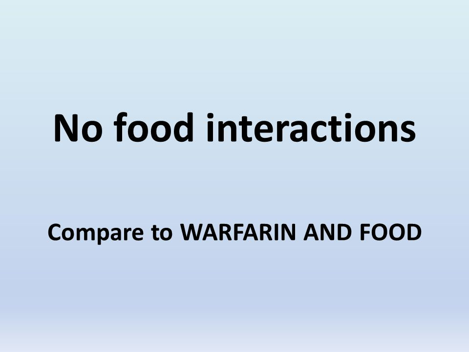 No food interactions Compare to WARFARIN AND FOOD