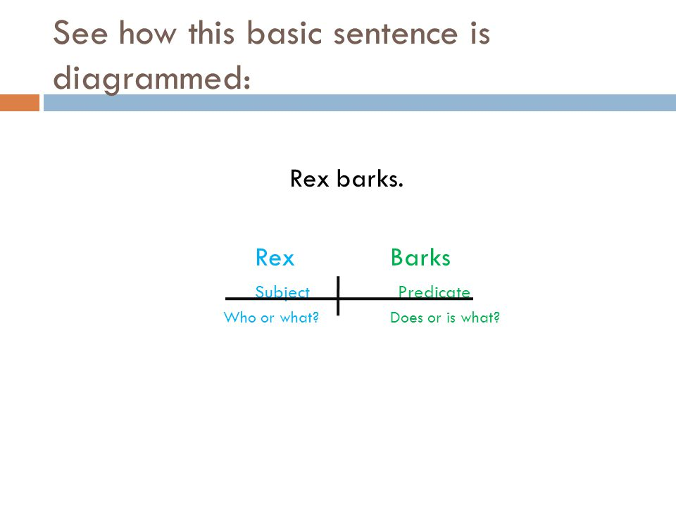 diagramming begins   what is diagramming   sentence analysis    see how this basic sentence is diagrammed  rex barks  rexbarks subject predicate who or