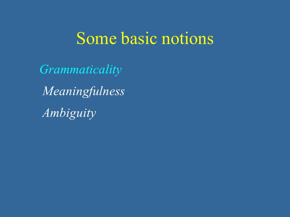 Grammaticality Meaningfulness Ambiguity Some basic notions